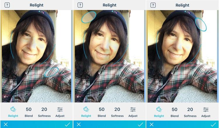 قابلیت Relight در اپلیکیشن Facetune